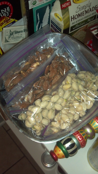Grab and go pistachios and almonds