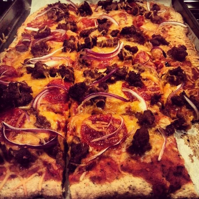Pepperoni and Italian Sausage Pizza